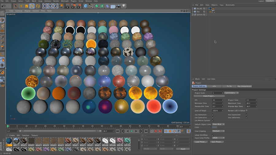 Cinema 4D Lite Reference: Adding Preset Materials to Objects