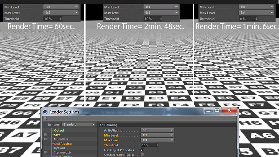 Anti-Aliasing Levels & Threshold effect on Rendertime and Quality