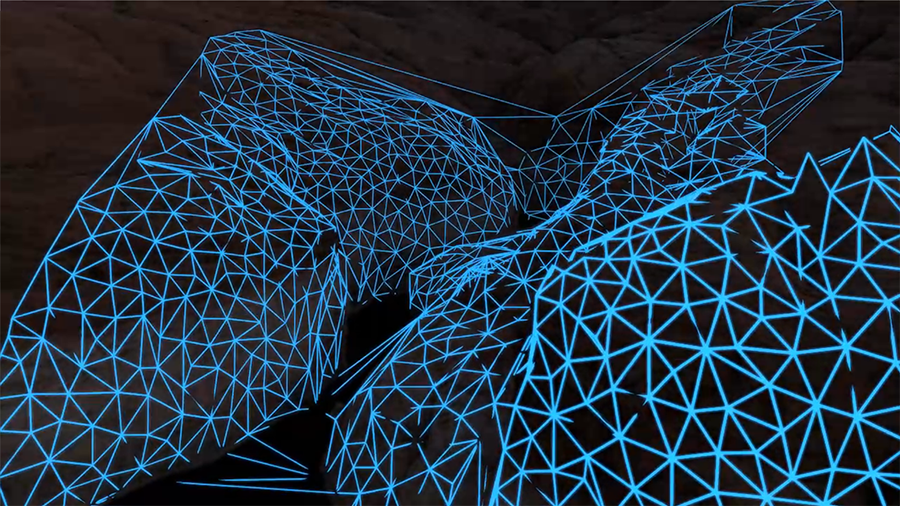 Canyon Scene Reconstruction: Using Scene Reconstruction to Render a FUI / AR Wireframe