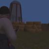Farmer in darkened farm.